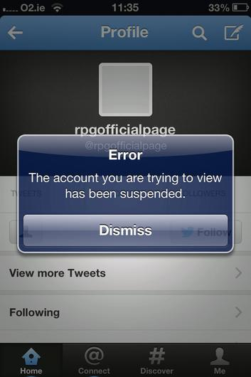 Image shows suspended Twitter account relating to Ryanair