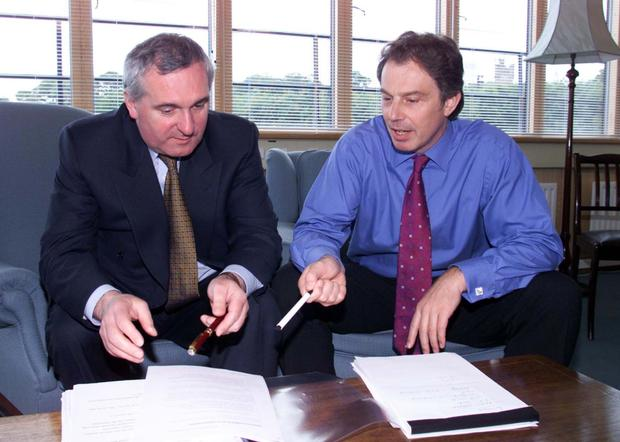 Taoiseach Bertie Ahern and British Prime Minister hold talks in Castle Buildings, Stormont, in the months following the signing of 1998's Good Friday Agreement