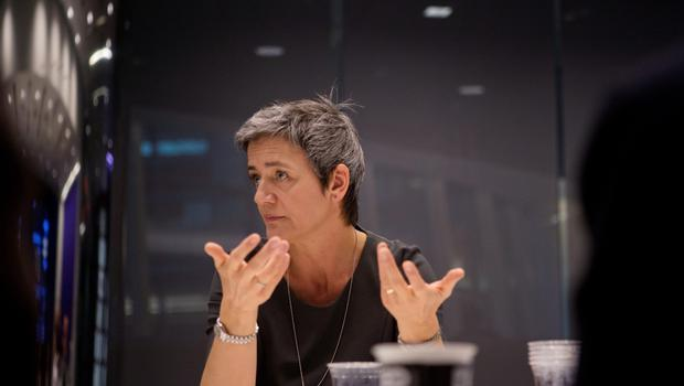 European Union Competition Commissioner Margrethe Vestager speaks during an interview in New York, U.S., on Monday, April 20, 2015. Vestager discussed the EU's probe into Google Inc.'s online shopping tool and Android mobile software, and the outlook for a possible antitrust complaint against OAO Gazprom. Photographer: Victor J. Blue/Bloomberg