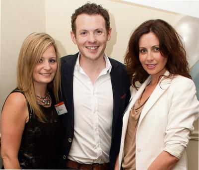 CELEBRATION: Claire Griffin, GrabOne's Ruairi Doyle and Julie Ryan at GrabOne's second birthday party last wee