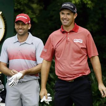 MAJOR PLAYER: Padraig Harrington, right, with Sergio Garcia, during the first round of the US Open last week