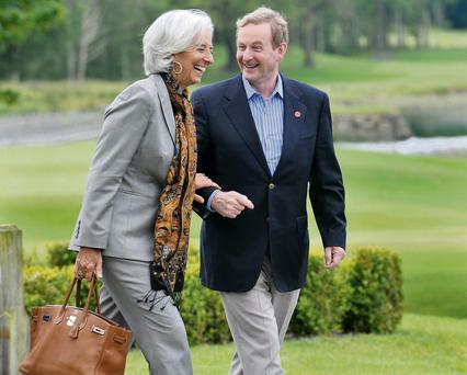 IMF managing director Christine Lagarde jokes with Taoiseach Enda Kenny at the G8 summit at Lough Erne in Fermanagh