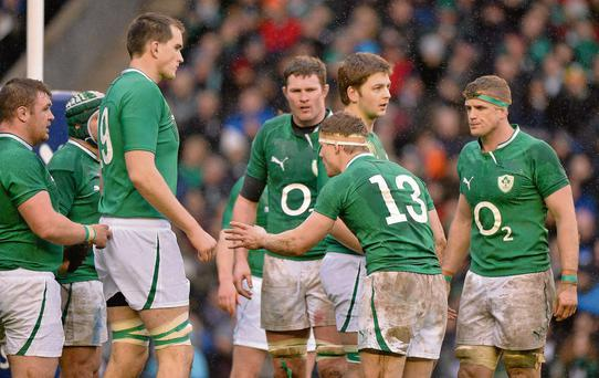 Ireland in the RBS Six Nations Rugby Championship earlier this year. How much longer will the jerseys sport O2?