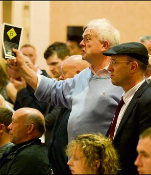 AGITATE: Jerry Beades and TD Michael Healy Rae, right, protest at the recent Allsop auction