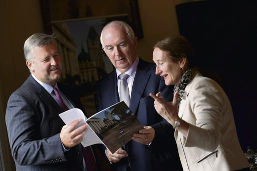 At the Shelbourne Hotel for the CRH interim results were Albert Manifold, CEO designate, with Myles Lee, CEO, and Maeve Carton, chief financial officer