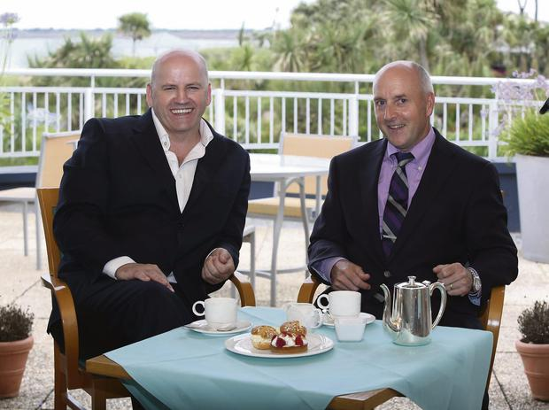 HIGH TEA: Sean Gallagher and Bill Kelly take a break at Kelly's Hotel in Rosslare – set up by Bill's great-grandparents back in 1895. Photo: Mary Browne