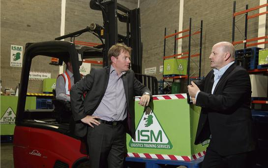 LIFT-OFF: Karl Walsh and Sean Gallagher at the Irish School of Motoring office and training facility in Finglas, Co Dublin.