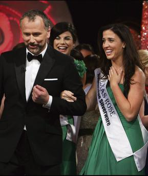 RATINGS WINNER: Host Daithi O Se with 2013 Rose of Tralee winner Haley O'Sullivan. The contest brings struggling RTE a huge annual audience.