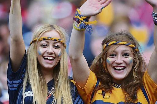 Happy Clare fans at the All-Ireland hurling final in Croke Park on Sunday
