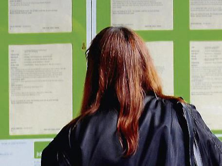 A jobseeker reads notices of vacancies at a job centre