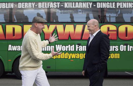 ON THE ROAD: Sean Gallagher with the CEO or 'high king' of Paddywagon Tours Cathal O'Connell. Photo: David Conachy