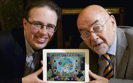 Pictured at the launch of Algebalance today was Minister for Education and Skills, Ruairi Quinn with David Collins, founder and CEO of Irish technology startup Rongella. Algebalance is an educational video game app for iPad, which teaches the basics of algebra before children learn it in school.