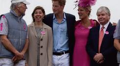 AT THE RACES: From left, Edouard Carmignac, Prince Harry and Pat Doherty plus two friends at the Irish Guards polo club