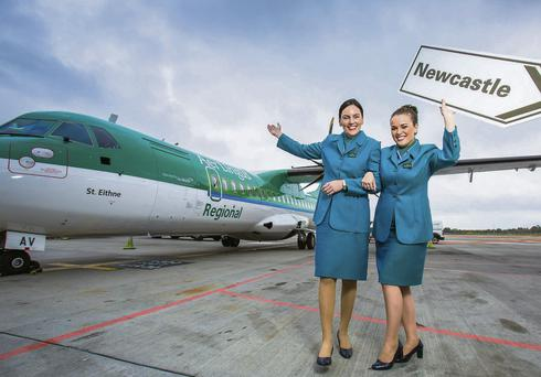 Mary Bourke and Ciara Moore, cabin crew, Aer Lingus Regional, launching the winter schedule.