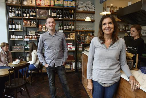 FOR THE GOOD TIMES: Rob Gray with his mother and co-owner Caroline in Gray's Coffee shop in Greystones, Co Wicklow. Photo: Tony Gavin