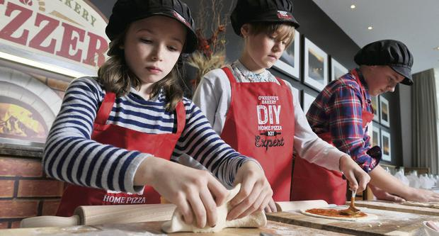 Beth Ann O'Farrell (7) and Sarah O'Keeffe (11) at the launch of O'Keeffe's Bakery's new product range