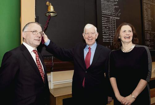 Pictured is Mincon Founder Patrick Purcell as he rings the ISE bell watched by Aileen O'Donoghue, Director of Strategy, ISE and Kevin Barry, CEO Mincon. Picture by Shane O'Neill / Fennells.