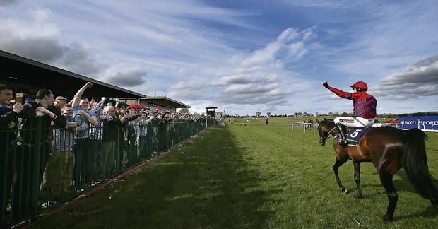 Sprinter Sacre and jockey Barry Geraghty celebrate victory at the Boylesports.Com Champion Chase during the Boylesports Day at the 2013 Festival at Punchestown