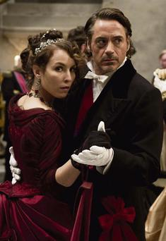HAVING A BALL: Robert Downey Jnr and Rachel McAdams in 'Sherlock Homes'