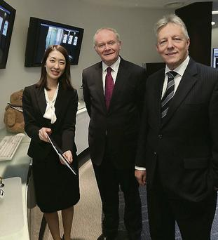 North's First Minister Peter Robinson and deputy First Minister Martin McGuiness met with President Masami Yamamoto of Fujitsu in Japan