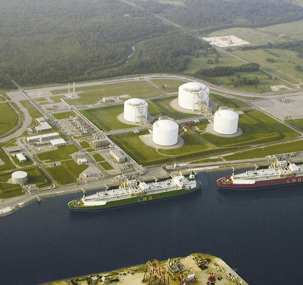 How the Shannon LNG terminal would look, based on 'a typical LNG Terminal', like the one above and on Lake Charles, Louisiana, in the US