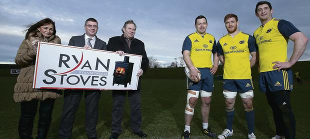Terri Ryan of Ryan Stoves, Tom McNamara of Bank of Ireland, Larry Ryan of Ryan Stoves and James Downey, Sean Dougall and James Coughlan of Munster Rugby