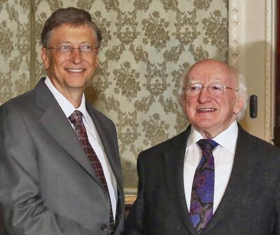 Bill Gates with President Higgins at the Aras. Photo: Colin Keegan, Collins