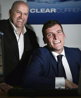 Sean Gallagher, left, with Barry O'Neill, managing partner of Clear Currency. Photo: Gerry Mooney.