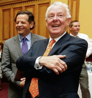 Stephen Vernon of Green REIT Plc (centre) pictured at the company's launch held in the Irish Stock Exchange, Dublin. ROBBIE REYNOLDS