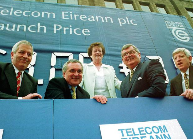 Launching the Telecom flotation in 1999, from left, Charlie McCreevy, Bertie Ahern, Mary O'Rourke, Ray MacSharry and the company's CEO, Alfie Kane.