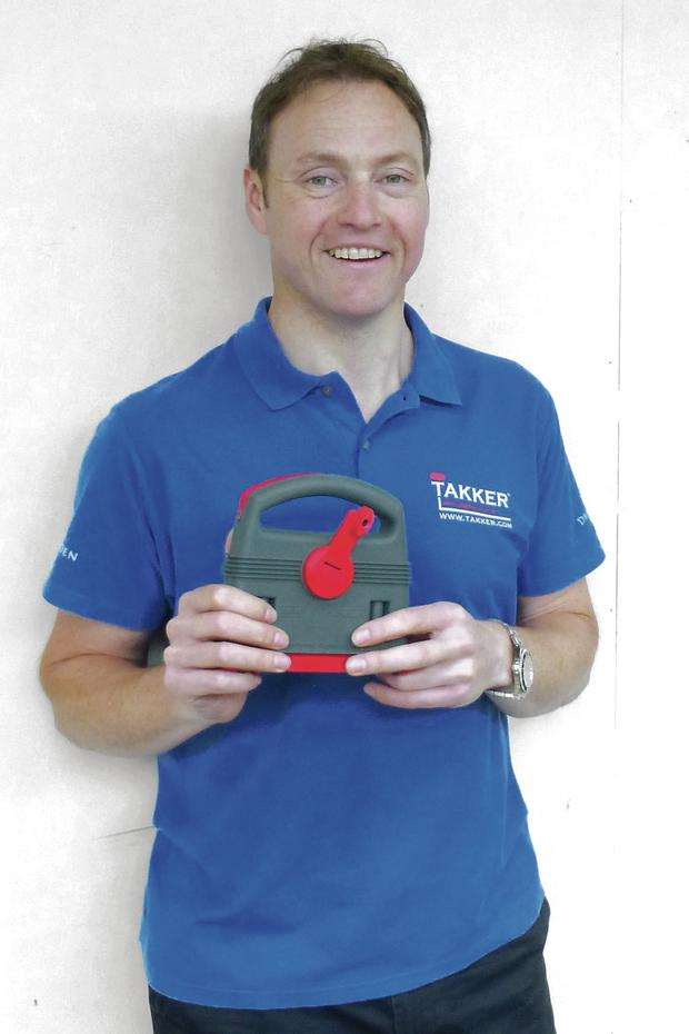 Damien McGrane's Takker invention allows people to drill nails into wall with a small attached hook, easily with no mess and as little damage to the wall as possible