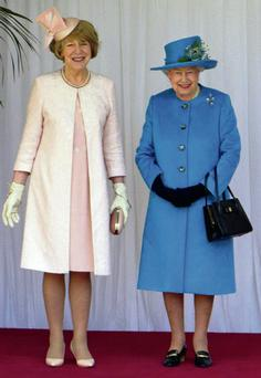 Sabina Higgins in an outfit by Louise Kennedy with Queen Elizabeth during the recent state visit to Britain