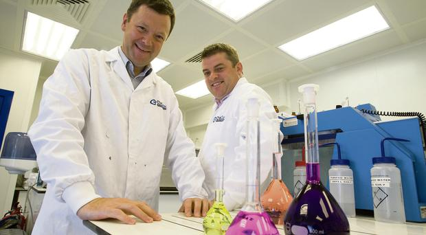 Eirgen Pharma founders Patsy Carney and Tom Brennan in the lab in Waterford. Photo: Patrick Browne