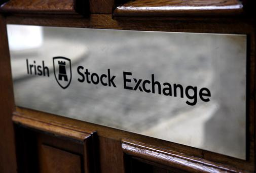The Irish Stock Exchange logo is displayed at the entrance to the headquarters in Dublin