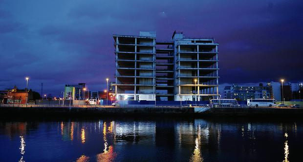 The abandoned Anglo site on Dublin's quays which will house the Central Bank's new headquarters