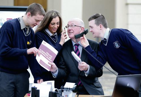 Children's Minister Charles Flanagan with Jamie Ivers, Gillian Marley and Conor Doherty