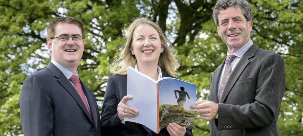 At the Glanbia AGM was, from left, Mark Garvey, Group Finance Director; Siobhan Talbot, Group Managing Director and Liam Herlihy, Group Chairman