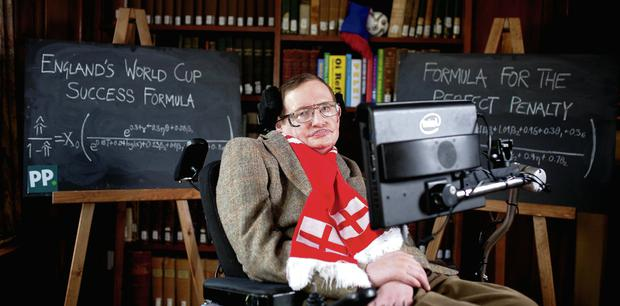 Professor Stephen Hawking with the new scientific formula to predict the chances of England succeeding in the World Cup, and for the perfect penalty, which he prepared for bookmaker Paddy Power.