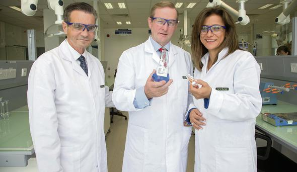 AbbVie CEO Rick Gonzalez, Taoiseach Enda Kenny and AbbVie's Azita Saleki-Gerhardt earlier this month