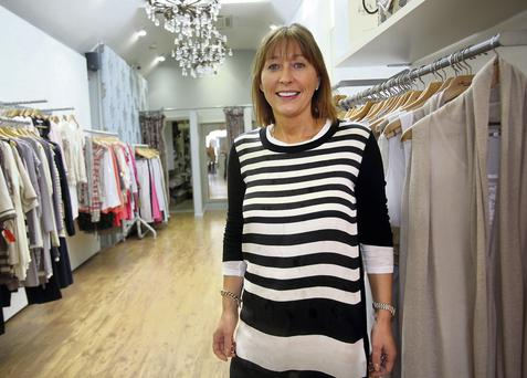 Jackie O'Connor outside her boutique, Scruples in Naas. Photo: Tony Gavin