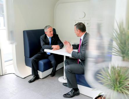 Wim Verbraeken, Chief Executive, KBC Bank Ireland with Minister for Jobs, Enterprise and Innovation, Richard Bruton TD at the opening of the new KBC hub in Grand Canal Square