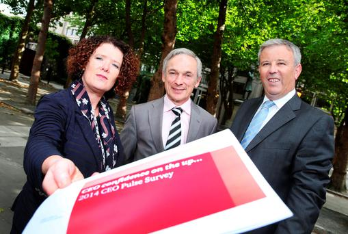 Pictured launching PwC's 2014 CEO Pulse Survey are (l-r) Ann O'Connell, Partner, PwC; Minister for Jobs, Enterprise and Innovation, Richard Bruton TD and Paul Tuite, PwC Advisory Leader