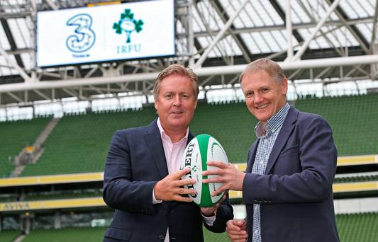 Robert Finnegan, CEO of Three, joined Joe Schmidt, Irish rugby head coach, at the Aviva Stadium yesterday ahead of a three-day training camp for the Irish rugby team which starts today. A new training kit, featuring the '3' logo, will be unveiled tomorrow