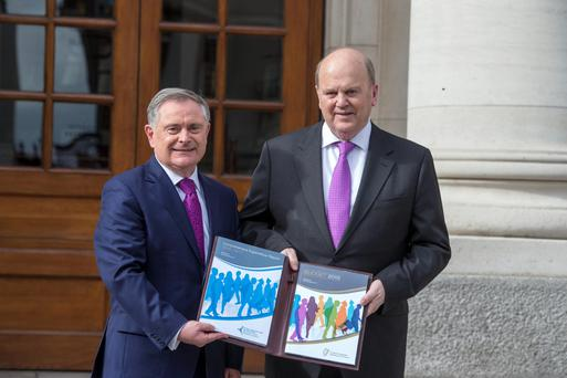 Finance Minister Michael Noonan (right) with Minister Brendan Howlin in 2014.