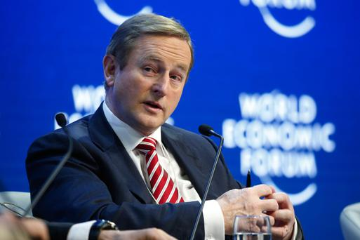 Taoiseach Enda Kenny speaks during a session on day two of the World Economic Forum (WEF) in Davos, Switzerland in January. Photo: Jason Alden/Bloomberg