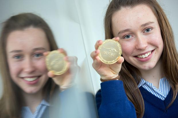Picture shows Junior Cert Business Studies Winner Jennifer Greally of Mount Mercy College, Model Farm Road, Cork; who was one of four students from secondary schools around the country have been awarded with gold medals for their outstanding achievements