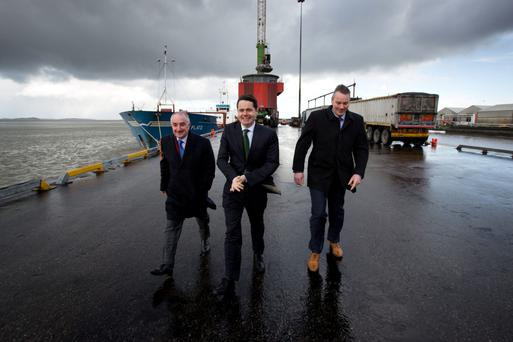 Michael Collins, Chairman Foynes Port Company, Minister for Transport, Tourism and Sport, Paschal Donohoe T and Patrick Keating, CEO Shannon Foynes Port Company announce details of the biggest infrastructure project in Irish ports since turn of millennium to get underway in Foynes.
