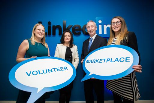 Nina Arwitz, Chief Executive Officer, Volunteer Ireland;Sharon McCooey, Senior Director, LinkedIn Ireland;Minister of State for Activation Kevin Humphreys TD;and Eva Gurn, Manager, Boardmatch Ireland at the launch.