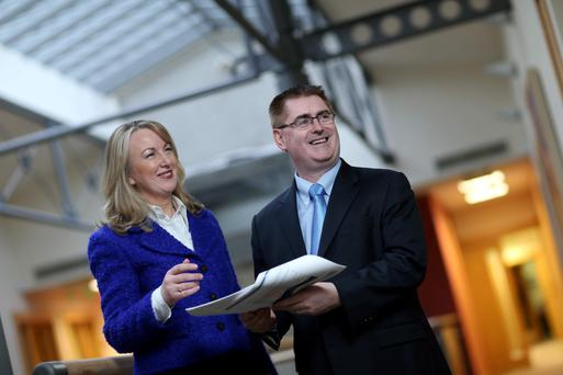 Glanbia Group managing director Siobhán Talbot and finance director Mark Garvey at the results announcement