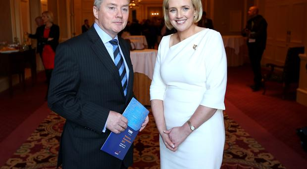 IAG chief executive Willie Walsh with Ruth Curran, managing partner, Merc Partners, before a Merc Partners business leaders' breakfast
